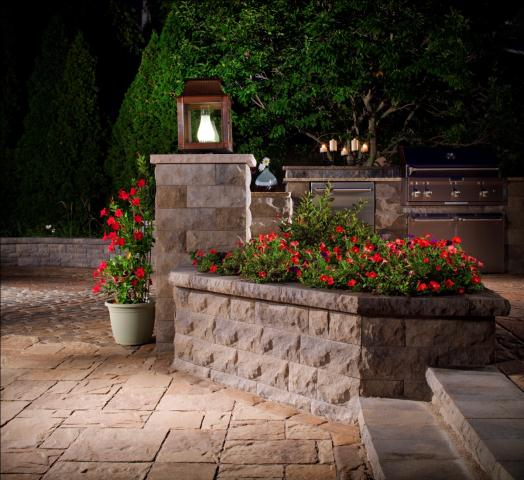 BelAir wall block creates a beautiful enclosed garden space perfect for a pop of color.