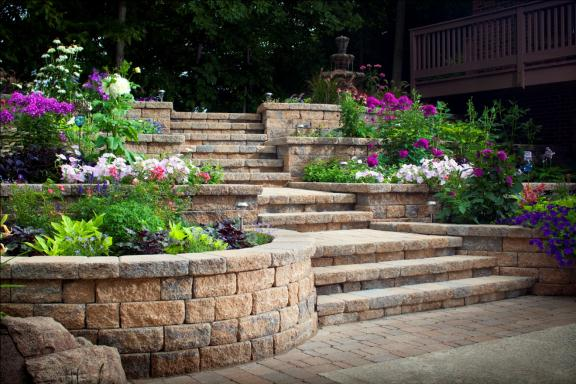 Celtik retaining walls create an ideal venue for adding color to a backyard.